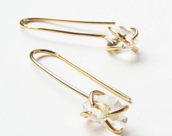 SALE Herkimer Diamond Gold Hook Earrings