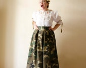 Camouflage Maxi Skirt, High Waist Cotton Full Skirt, Camo Long Skirt with Pockets