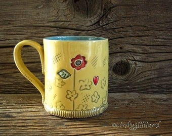Pottery Mug in Yellow and Turquoise with Summer Flowers and Hearts - Coffee Mug - Large Mug - by DirtKicker Pottery