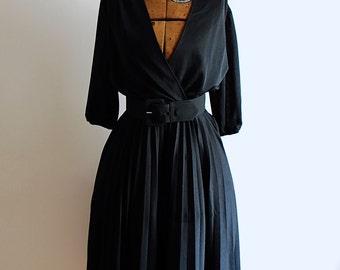 Dramatic Deep V Neck Vintage Dress
