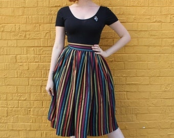 SPRING SALE Amelia Skirt from The Domestic Dame - full gathered skirt with two inch waistband and button closure - rainbow stripe