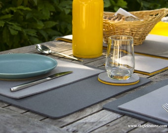 """Designer Wool Felt Placemats - 100% Wool, 17.75"""" x 13.75"""" x 1/8"""", Multiple Colors and Pack Sizes Available, Water Repellant, Place Mats"""
