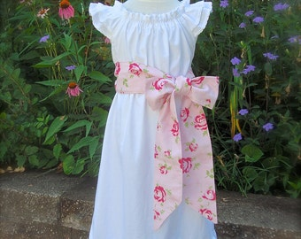 Basic Sister Dress Floral Sash Essential Summer Girl   Size 3 months to 12  Choice of Color and Sleeve