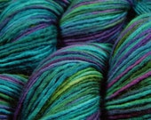 Hand Dyed Yarn, DK Weight Superwash Merino Wool Singles Yarn - Aegean Multi - Knitting Yarn, Single Ply Wool Yarn, Turquoise Blue Green