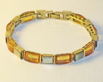 Vintage Monet Mother of Pearl Faux Amber Panel Link Bracelet (BR-3-1)