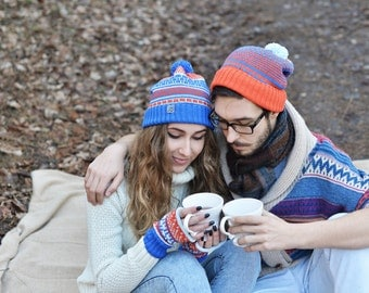 Knitted Two Hats, His and Her maching Beanies, Valentines Gift, Couples Gift, Colorful Beanies, Sports Beanies, Merino wool cap, Funny caps