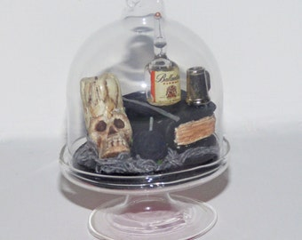 Gothic Miniatures Glass Cloche - Vanitas Miniature art - Memento Mori Miniature Art - Skull Art