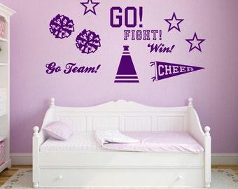 Cheerleading Wall Decals Set - Cheerleading Sports Stickers Graphics