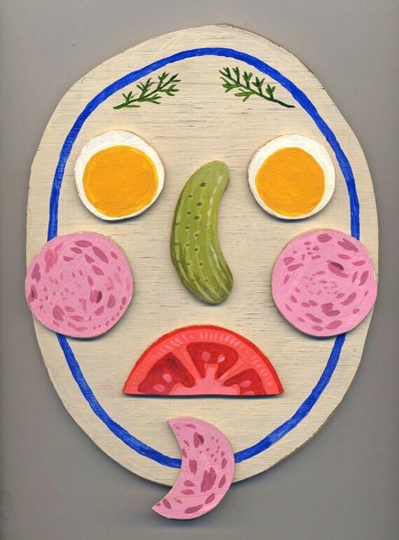 As seen in Frankie mag - Original artwork on wood: Mr Mortadella I