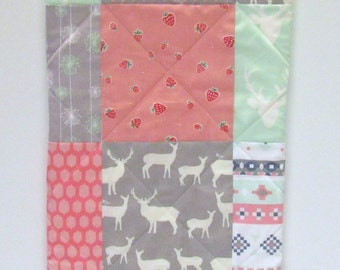 Baby Girl Quilt-Mint-Pink-Gray-Grey-Buck-Deer-Antlers-Woodland-Aztec-Modern-Garden-Shabby Chic-Whimsy Baby Blanket
