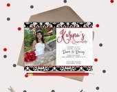 Quinceanera Invitations · Birthday Party Celebration · Black and White Invitation Cards