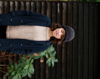 Knit Tweed Beanie, Mens Hat, Womens Beanie, Teen Hat, Fall Fashion, Spring Fashion Accessories. Black