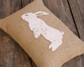 Doorstop, Rabbit, Bunny, Burlap, Pin Cushion, Paper Weight, Shelf Sitter, Bowl Filler, Bookend, Ivory & Natural, Shabby Chic, French Country