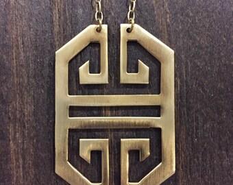 Vintage brass belt buckle necklace