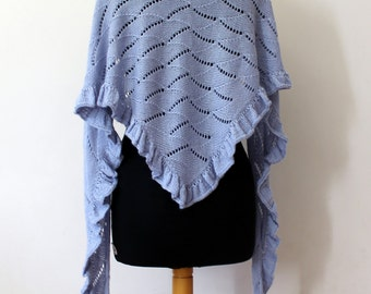 Hand knit blue lace shawl in alpaca silk with a ruffle