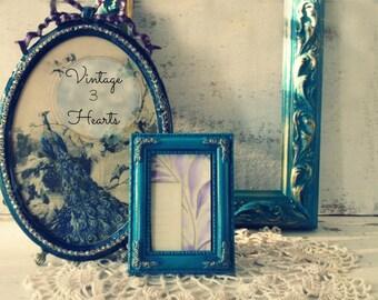 Teal Painted Frames. Tabletop frame set. Peacock Blue Teal Gold. Nursery. Bohemian Rustic Decor