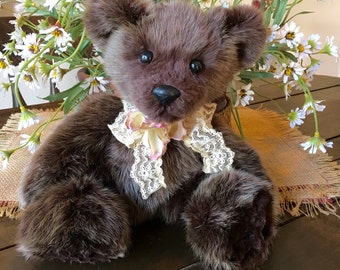 Brielle, Chocolate Brown Muskrat Fur Teddy Bear