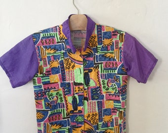 Vintage 80s / Boy or Girl / Hawaiian / Purple / Hot Pink / Lime Green / Pineapple / Short Sleeves / Shirt / Top / Size 12
