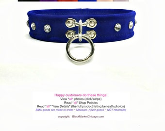 BDSM Collar Single Ring RHINESTONE Riveted SUEDE Leather in Royal Blue, Black, Red, Purple, White, Lilac, Baby Pink Lockable