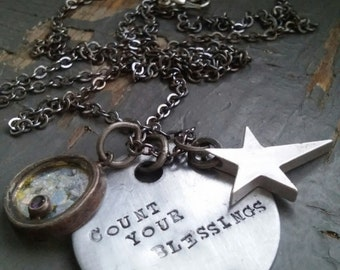 COUNT Your BLESSINGS - stamped metalwork tag, silver star, round abalone & purple rhinestone charm, chain necklace