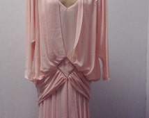 1980s Long Sleeves 80s does 20s/30s, dress by Casadei, Pale peach, Size S/M, #55689