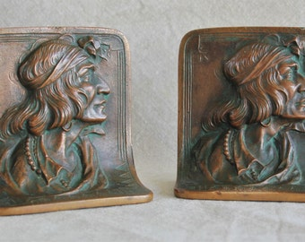 Pair of Antique Solid Bronze Native American/ Indian Head Bookends