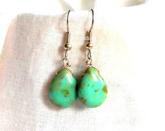 Piccaso Turquoise Earrings Teardrop Earrings Beaded Wire Wrapped Earrings Dangle Drop Earrings Surgical Steel French Hooks Tear Drop Beaded