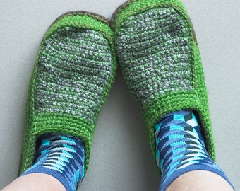 Slippers with Leather Sole in light green - above the ankle - all adult shoe sizes US 4-12 EUR 35-46