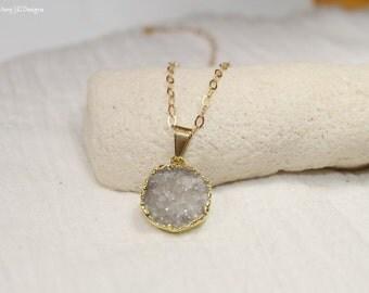 Grey Druzy Necklace, Druzy Jewelry, White, Gray, Drusy Pendant, Gemstone Necklace, Druzie, Drusy