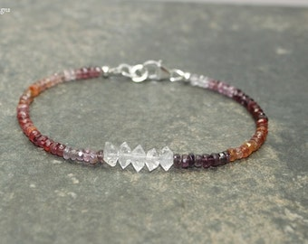 Multi Colored Spinel and Herkmer Diamond Bracelet, Multi Color Spinel Jewelry, Ombre, Sterling Silver or Gold