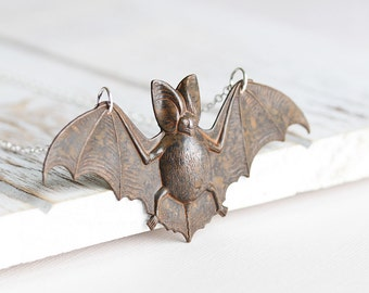 Large Rustic Brown/Black Bat Pendant Necklace on Silver Plated Chain, Halloween and Nature Jewelry