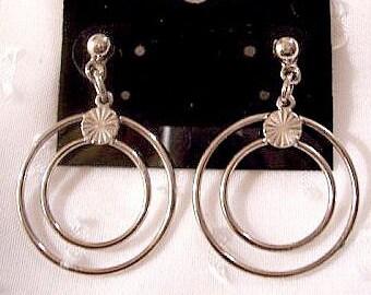 Ring Hoops Pierced Earrings Silver Tone Vintage Long Double Dangles