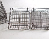 FOR KAREN - INDUSTRIAL Vintage Wire Basket - Dark Gray Rustic Patina