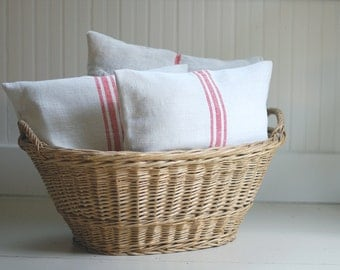 SALE - Vintage Grain Sack Pillow Cover - RED STRIPE