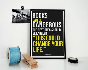 Typography Print Books Can Be Dangerous, Art Print, Bookworm Gift, Booklovers Gift, Library Decor, Literary Print, Bookstore Art, Poster