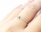 Blue Diamond Chevron Ring Sterling Silver Rough Stone Raw Gem Dainty Layering Ring Stacking Prong Set