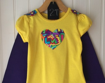 Tee + Cape - All You Need Is Love - Girl's 24 month