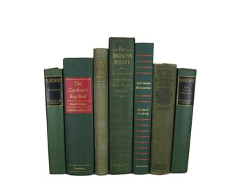 Green Vintage Decorative Old Books for Wedding Decor and Photo Prop