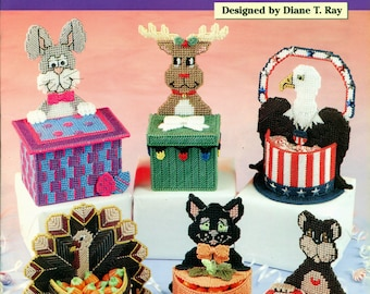 CANDY CRITTERS Needlecraft Shop 993040 Plastic Canvas Holiday Theme Containers Boxes Patterns