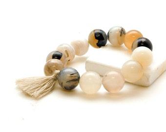 White Garnet Bracelet, Mala Bracelet, Tassel Boho Bracelet, Stacking Bracelet, Yoga Jewelry, Meditation Bracelet, Gemstone Mala Bracelet