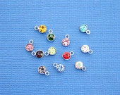 10 Rhinestone Drop Charms Antique Silver Tone Assorted Colors 4mm - SC4400
