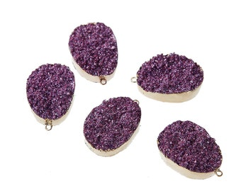 Purple Resin Druzy Pendant Gold Plated Larger Size 35mm x 23mm - Z184
