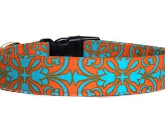 Dog Collar / Orange Blue Dog Collar / Adjustable Dog Collar / Orange Dog Collar / Damask Dog Collar / Large Dog / Small Dog