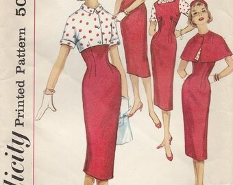 Vintage 1950s Simplicity Sewing Pattern 1932 / Wiggle Dress Jumper Blouse Jacket and Cape / Bust 32