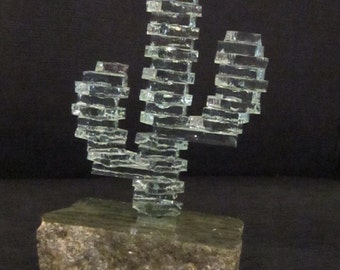 Glass Saguaro Southwestern Souvenir - Green Stacked Art Glass on Thick Granite Stand