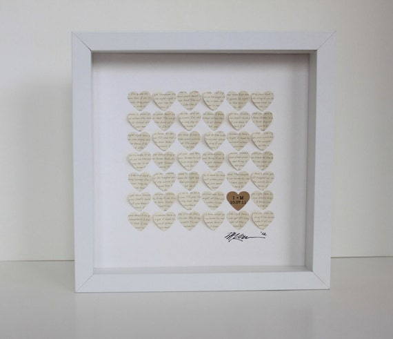 Wedding Gift Framed Art : Wedding Song Lyric ArtFramed 3d Hearts Wedding Gift, Wedding Gift ...