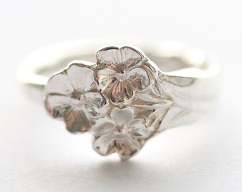 Antique Sterling Silver Ring - Harlequin Forget Me Not, 1958
