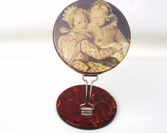 Vintage Travel Mirror / Folding Mirror with Stand / Purse Mirror with Victorian Children, Magnifying Mirror