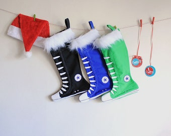 Personalized Christmas Stockings set of 3- Family Stockings, Black,Royal Blue and Green