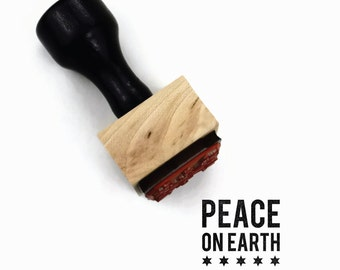 Peace on Earth Christmas Stamp - Mini Holiday DIY Gift Tag Craft Rubber Stamp by Creatiate